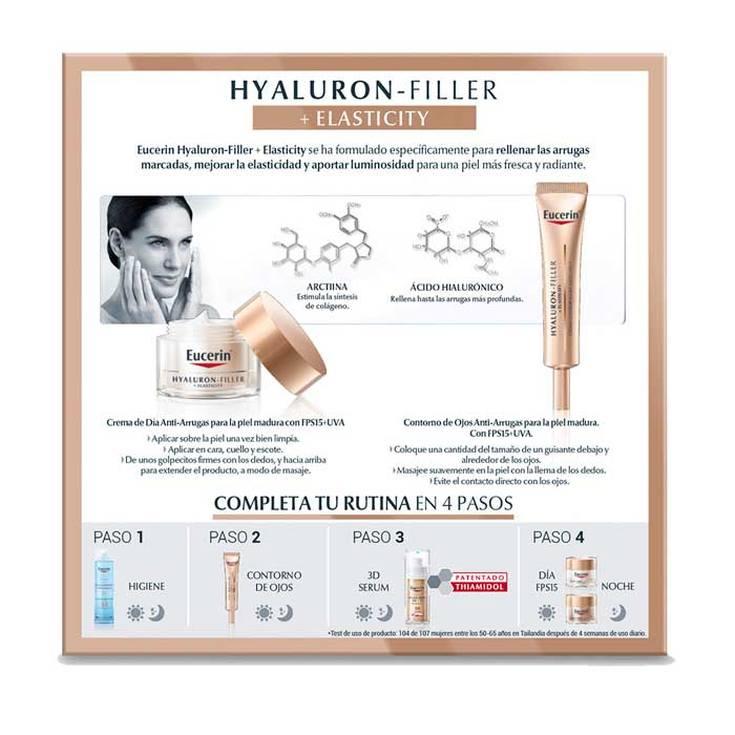 eucerin dia hyaluron filler + elasticity spf15 crema dia set 2 piezas