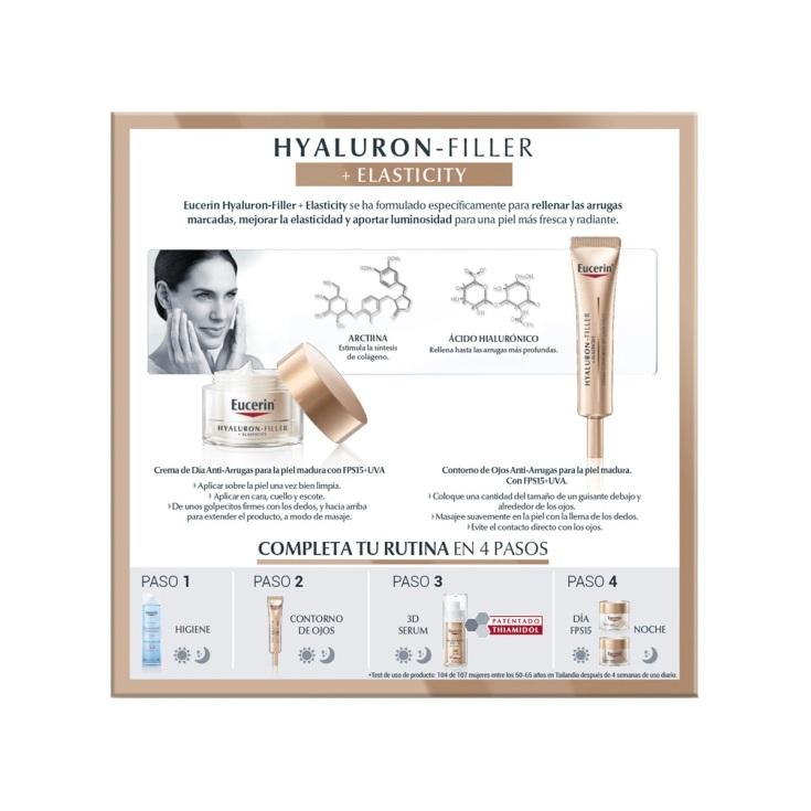 eucerin dia hyaluron filler + elasticity spf30 crema dia set 2 piezas