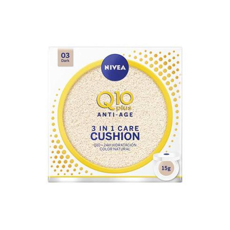 nivea q10 plus anti-age 3en1 cushion tono oscuro hidratacion con color