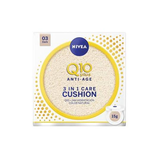 nivea q10 plus anti-age 3en1 cushion tono oscuro hidratación con color