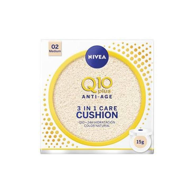 nivea q10 plus anti-age 3en1 cushion tono medio hidratacion con color