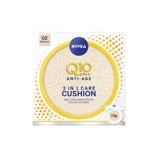 nivea q10 plus anti-age 3en1 cushion tono medio hidratacion con color