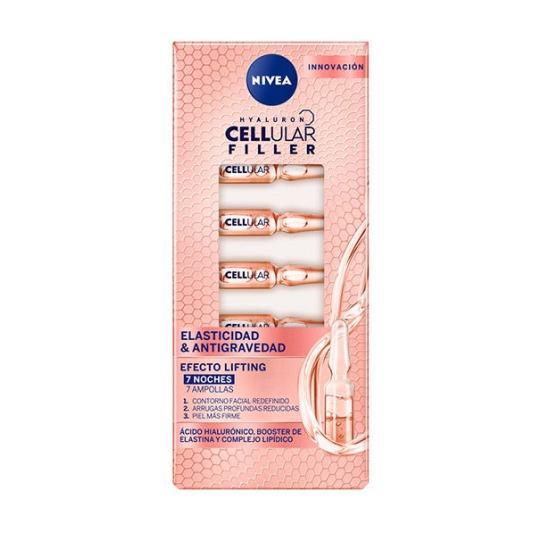 nivea cellular filler elasticidad & antigravedad ampollas faciales 7 unidades