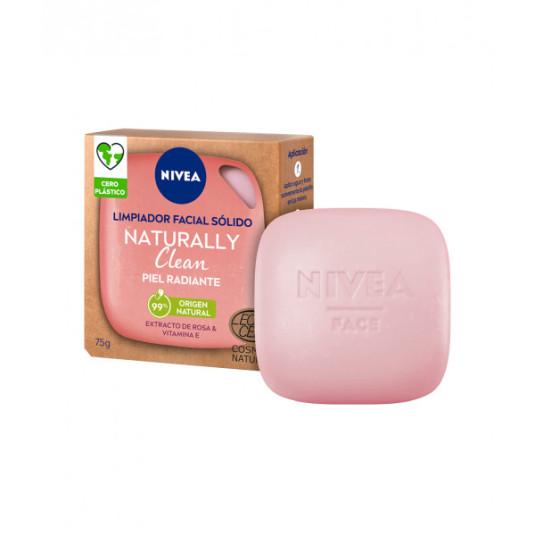 nivea naturally clean limpiador facial solido piel radiante 75g