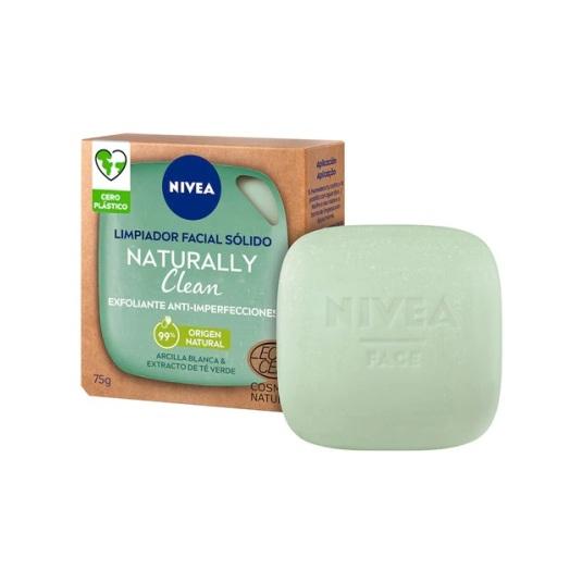 nivea naturally clean limpiador facial solido exfoliante anti-imperfecciones 75g