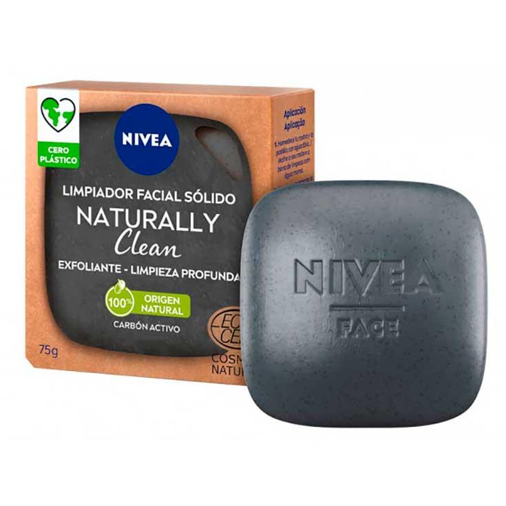 nivea naturally clean limpiador facial solido exfoliante limpieza profunda 75g
