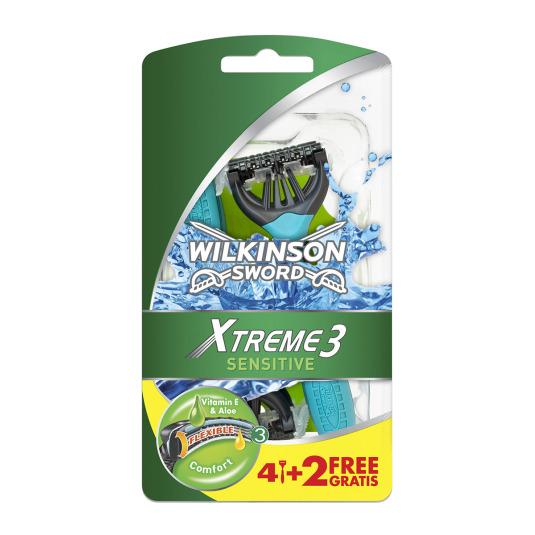 wilkinson xtreme 3 sensitive maquinilla de afeitar desechable 4+2unidades