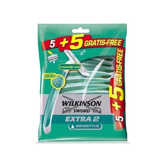 wilkinson extra 2 sensitive + vitamina e maquinilla de afeitar desechable hombre 5+5unidades