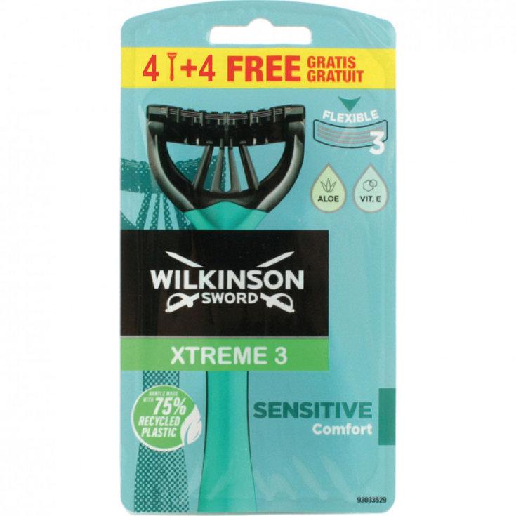 wilkinson xtreme3 sensitive maquinilla desechable 4 + 4 unidades