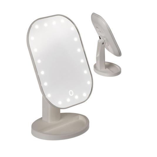 espejo con pie para maquillaje con iluminacion led