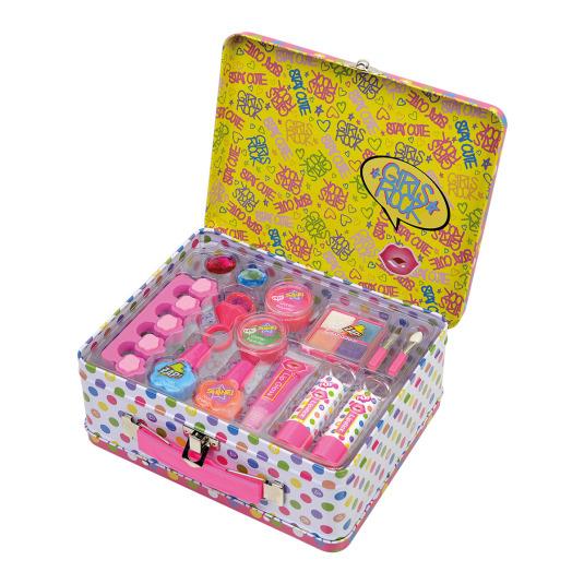 markwins pop love lunares maletin metalico de maquillaje infantil
