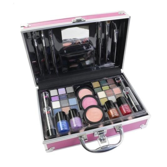 markwins bon voyage pink maletín metálico de maquillaje 43 piezas