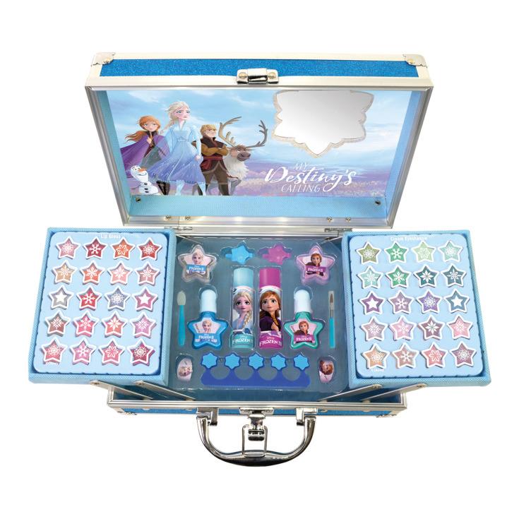 markwins frozen ii 2 destiny awaits maletín de maquillaje infantil metálico 3 pisos
