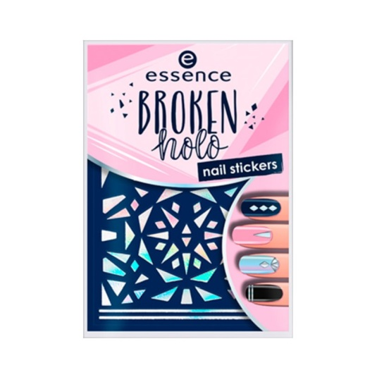 essence broken holo nail stickers decoración de uñas 12u