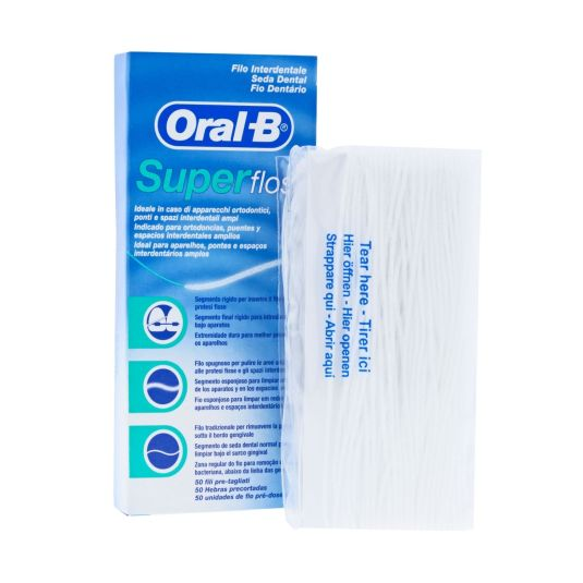 oral b seda dental super floss 50 unidades pre-cortadas
