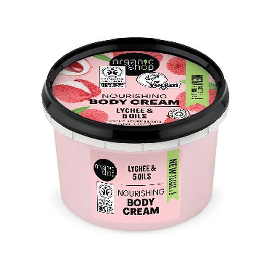 organic shop crema corporal lichi orgánico y 5 aceites 250ml