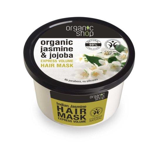 organic shop organic jasmine & jojoba mascarilla capilar volumen