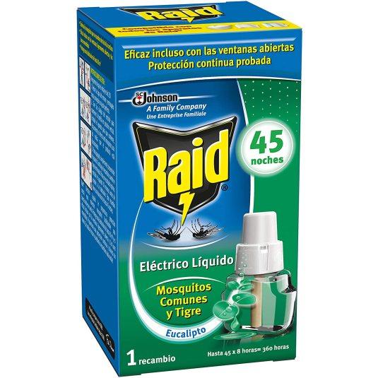 raid recambio difusor electrico anti mosquitos eucalipto 45 noches 1 unidad