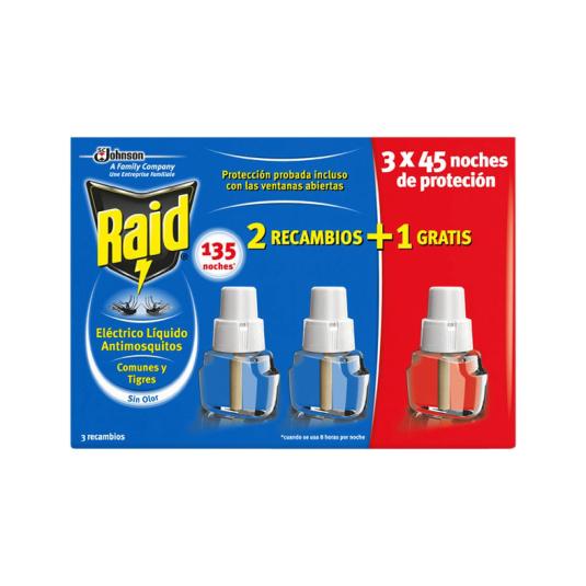 raid insecticida antimosquitos electrico recambios 3 unidades
