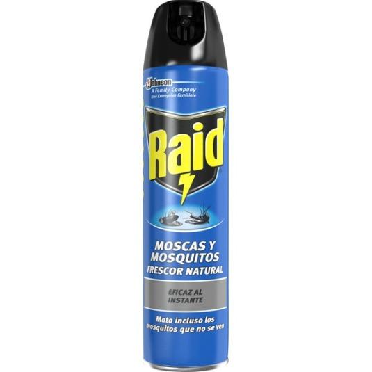raid insecticida volador para moscas y mosquitos accion instantanea spray 600ml