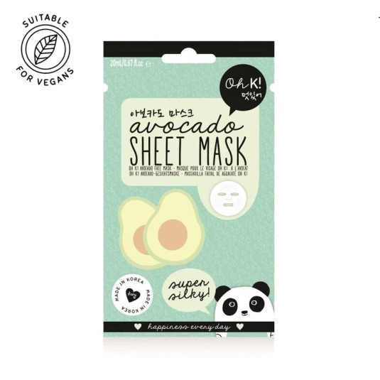 oh k! sheet avocado mascarilla facial de aguacate