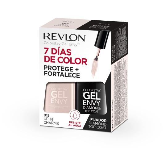 revlon pack gel envy duo laca uñas up in charm + fijador diamond top coat