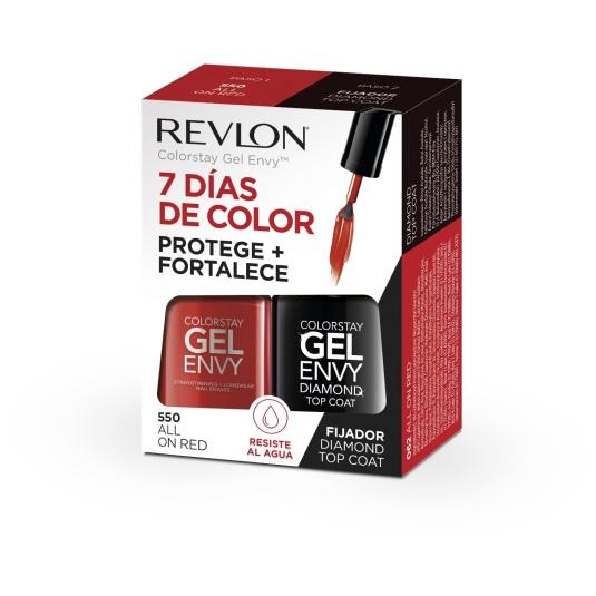 revlon pack gel envy duo laca uñas all in red + fijador diamond top coat