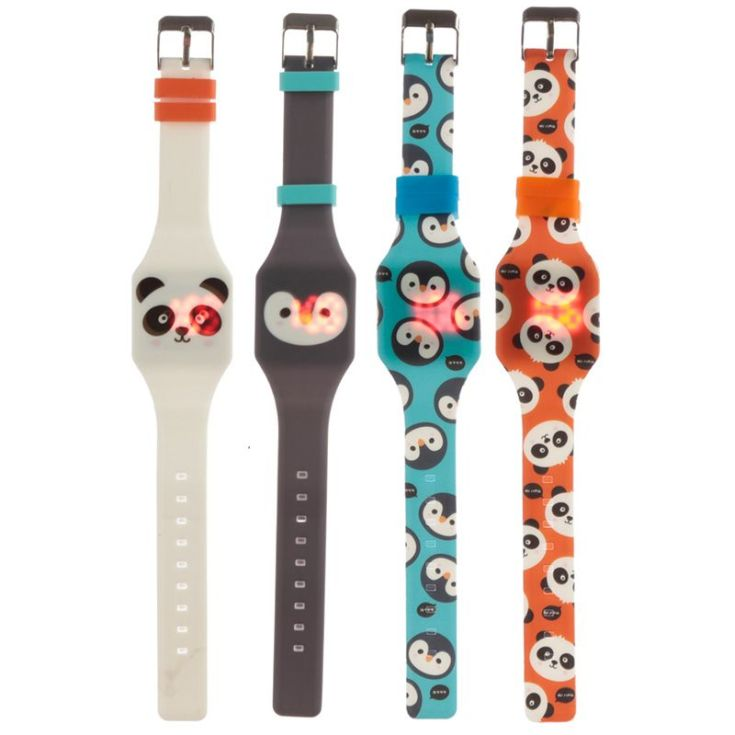 reloj digital de silicona cutiemals animales adorables con luz led