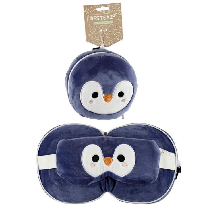 relaxeazzz almohada de viaje con cremallera y antifaz pingüino animales adorables 17cm