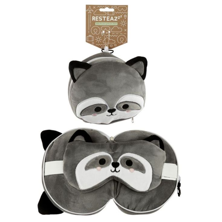 relaxeazzz almohada de viaje con cremallera y antifaz mapache animales adorables 17cm
