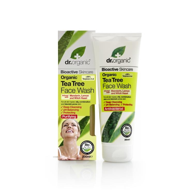 dr. organic árbol del té gel limpieza facial 200ml