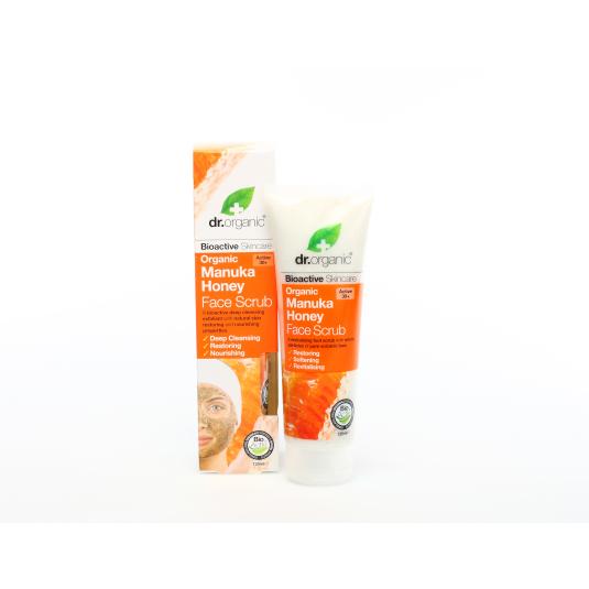 dr. organic miel manuka exfoliante facial 125ml