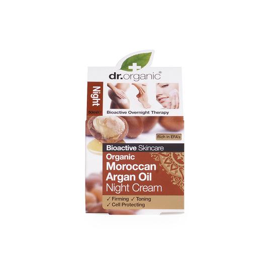 dr. organic aceite argán marroquí crema de noche 50ml