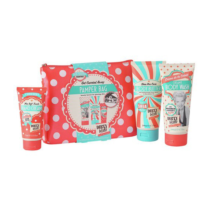 DIRTY WORKS PAMPER BAG SET DE TRATAMIENTO CORPORAL EN NECESER