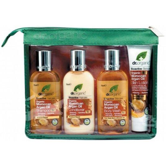 dr. organic aceite de argan marroqui set de viaje 4 piezas+neceser
