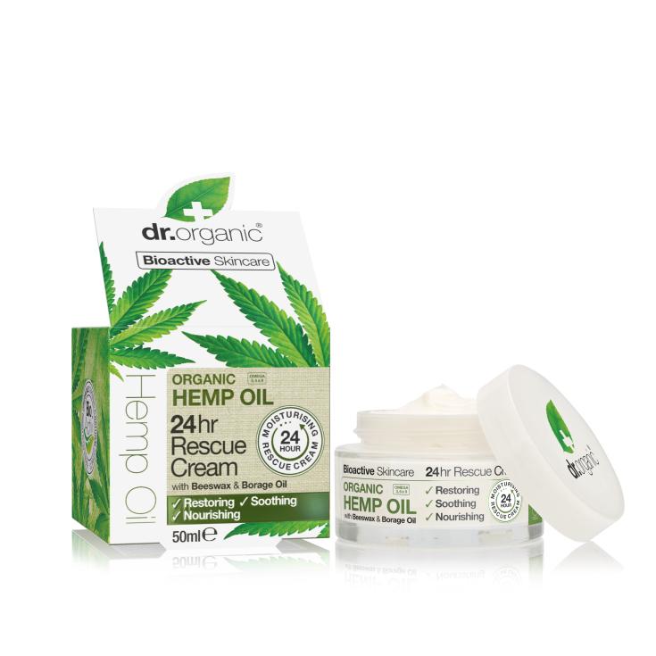 dr. organic aceite cañamo crema rescate 24h 50ml