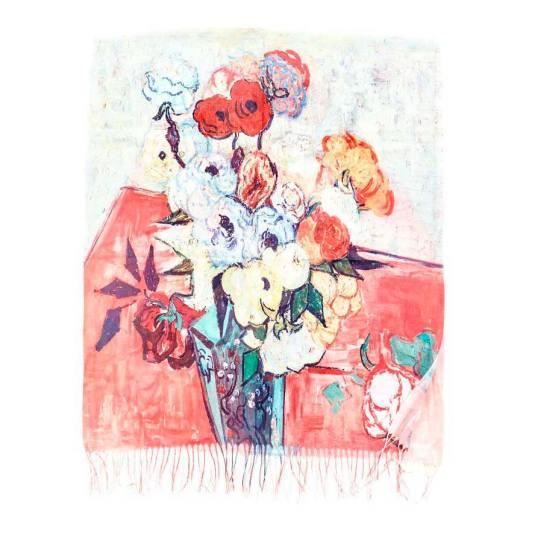 pañuelo / fular 2081 estampado multicolor arte bodegon floral