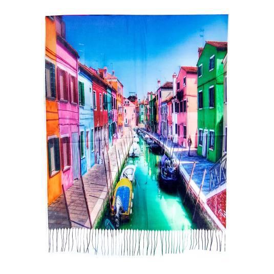 pañuelo / fular 2088 estampado multicolor paisaje pintado