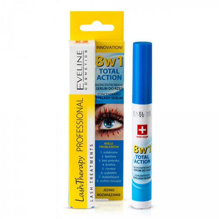 eveline cosmetics 8in1 total action serum concentrado para tratamiento pestañas