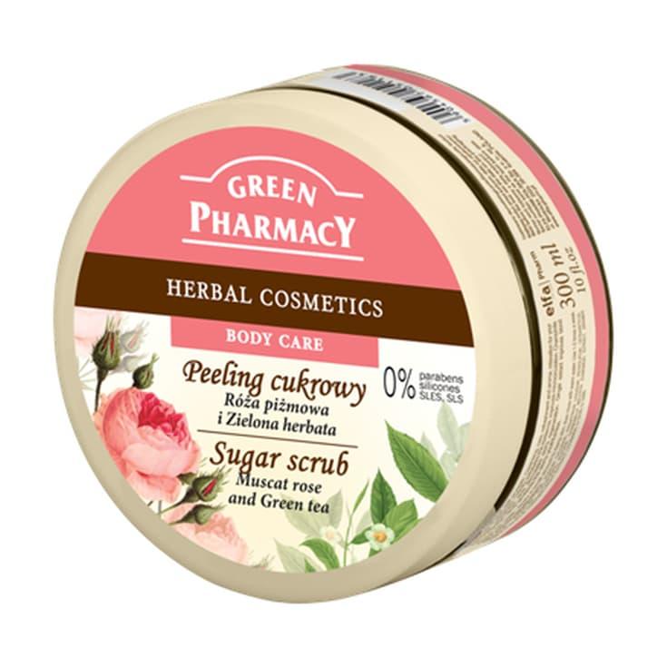 green pharmacy exfoliante corporal rosa mosqueta y té verde 300ml