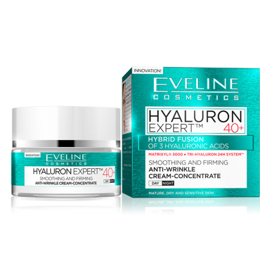 eveline cosmetics hyaluron expert 40+ crema concentrada antiedad piel más de 40 años 50ml