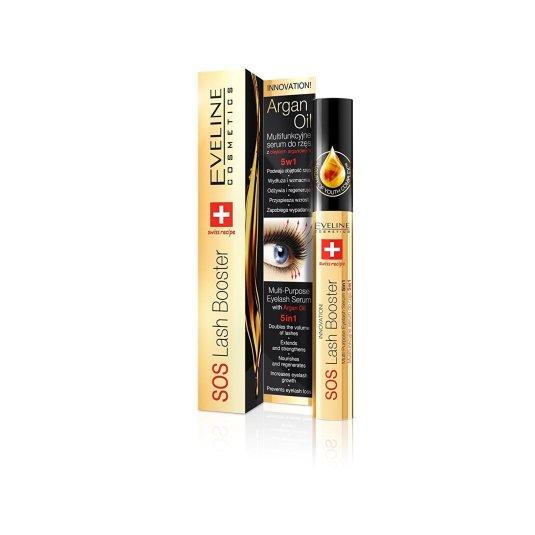 eveline cosmetics sos lash booster eyelash serum para pestañas 5en1 con aceite de argan