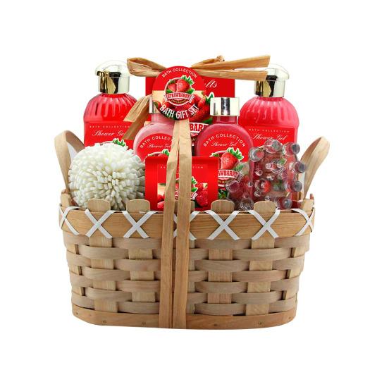 set de baño cesta bambu fresas 6 piezas