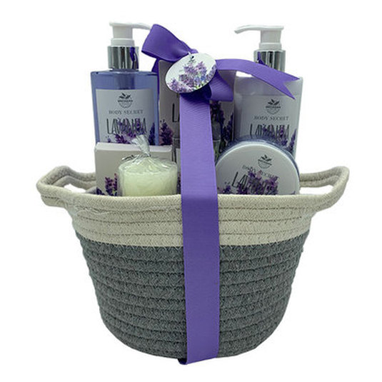 set de baño cesta algodón bicolor lavanda 6 piezas