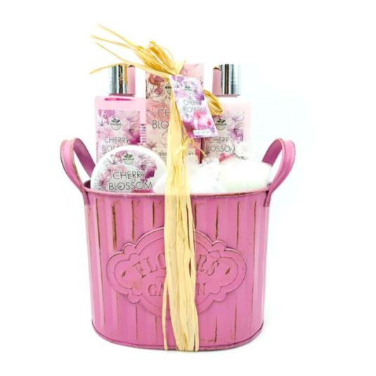 cesta de baño metalica con asas cherry blossom 6 piezas