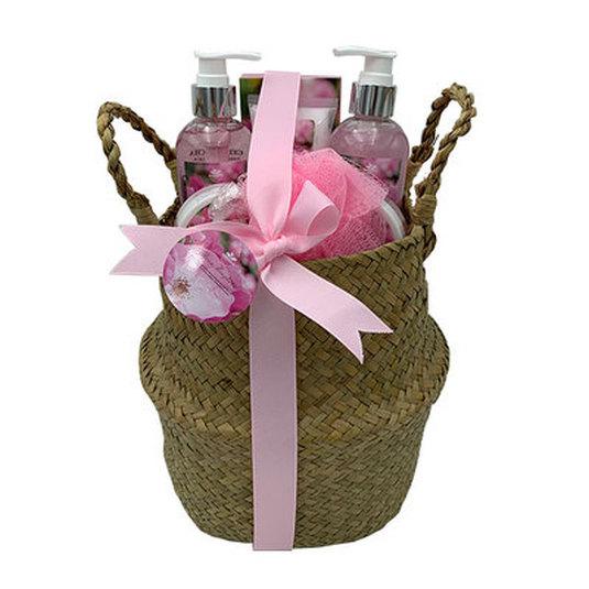 set de baño cesta mimbre rosa mosqueta 6 piezas
