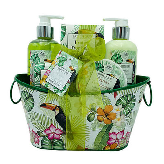 set de baño cesta metálica frutas tropicales 5 piezas