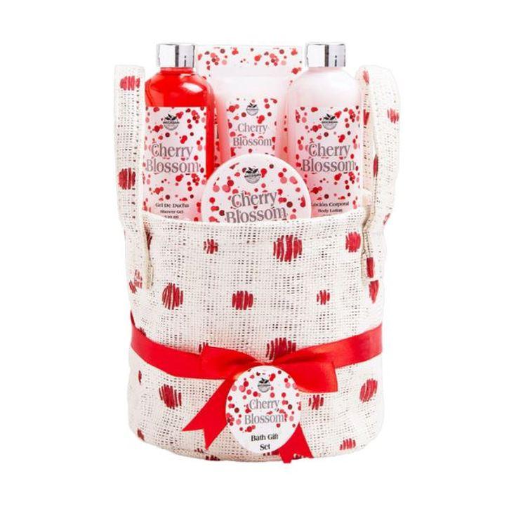 cesta de baño tela lunares cherry blossom 5 piezas