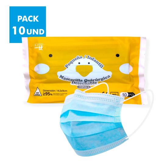 mascarilla quirurgica azul tipo i infantil pack 10 unidades
