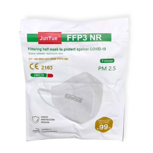 mascarilla ffp3 nr protectora desechable con espuma nasal 1 unidad